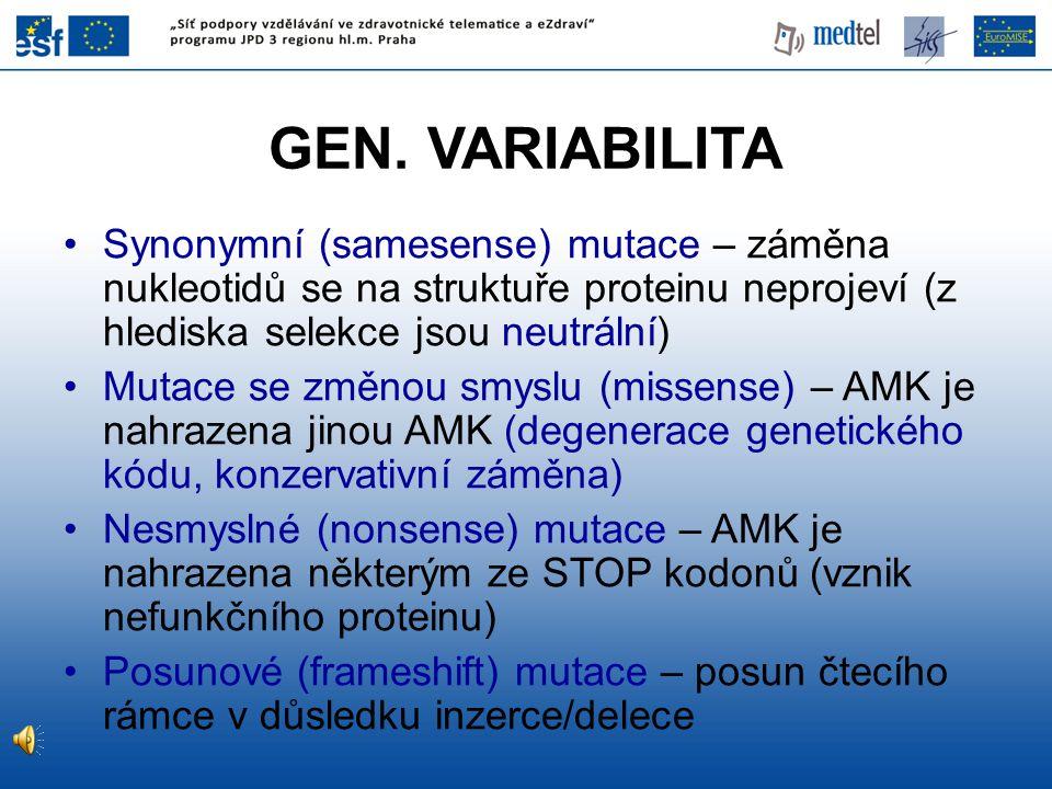 GEN. VARIABILITA Synonymní (samesense) mutace – záměna nukleotidů se na struktuře proteinu neprojeví (z hlediska selekce jsou neutrální) Mutace se změ