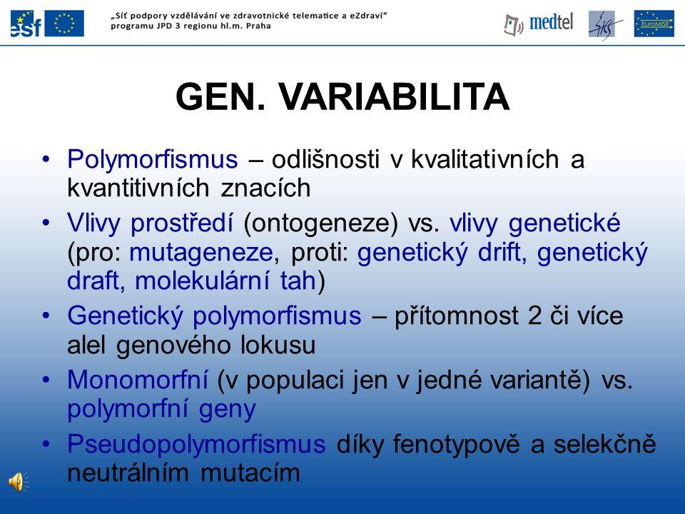 GEN. VARIABILITA Polymorfismus – odlišnosti v kvalitativních a kvantitivních znacích Vlivy prostředí (ontogeneze) vs. vlivy genetické (pro: mutageneze