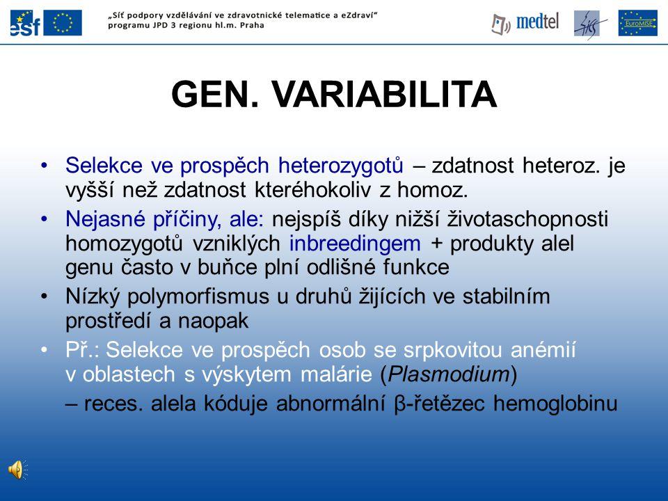 GEN. VARIABILITA Selekce ve prospěch heterozygotů – zdatnost heteroz. je vyšší než zdatnost kteréhokoliv z homoz. Nejasné příčiny, ale: nejspíš díky n