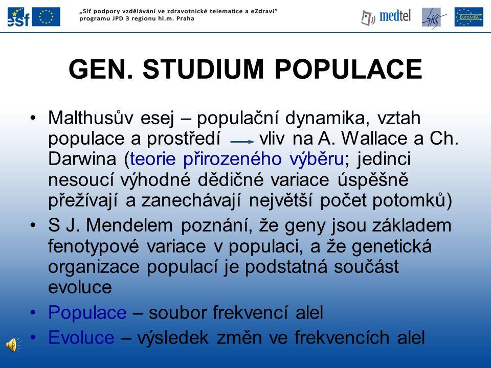 GEN. STUDIUM POPULACE Malthusův esej – populační dynamika, vztah populace a prostředí vliv na A. Wallace a Ch. Darwina (teorie přirozeného výběru; jed