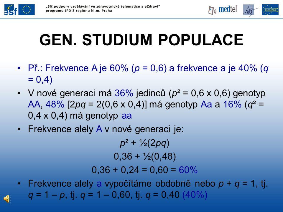 GEN. STUDIUM POPULACE Př.: Frekvence A je 60% (p = 0,6) a frekvence a je 40% (q = 0,4) V nové generaci má 36% jedinců (p² = 0,6 x 0,6) genotyp AA, 48%