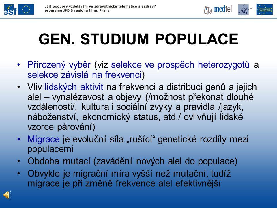 GEN. STUDIUM POPULACE Přirozený výběr (viz selekce ve prospěch heterozygotů a selekce závislá na frekvenci) Vliv lidských aktivit na frekvenci a distr