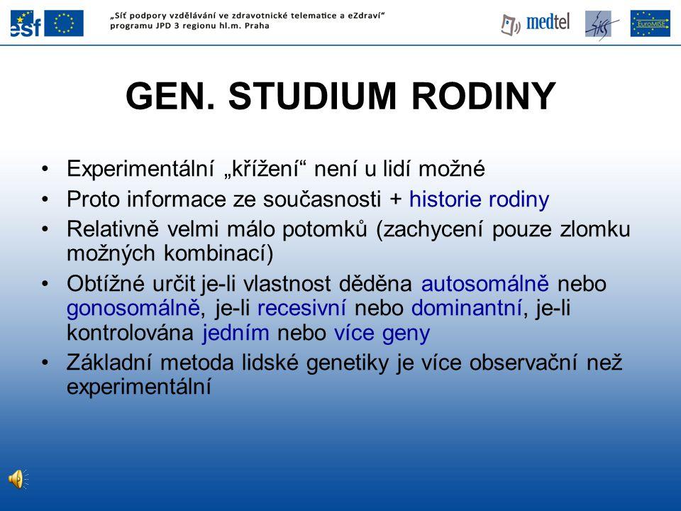 """GEN. STUDIUM RODINY Experimentální """"křížení"""" není u lidí možné Proto informace ze současnosti + historie rodiny Relativně velmi málo potomků (zachycen"""