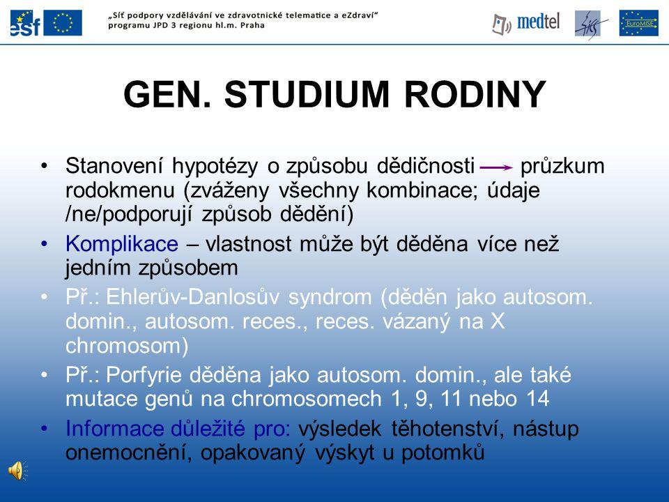 GEN. STUDIUM RODINY Stanovení hypotézy o způsobu dědičnosti průzkum rodokmenu (zváženy všechny kombinace; údaje /ne/podporují způsob dědění) Komplikac