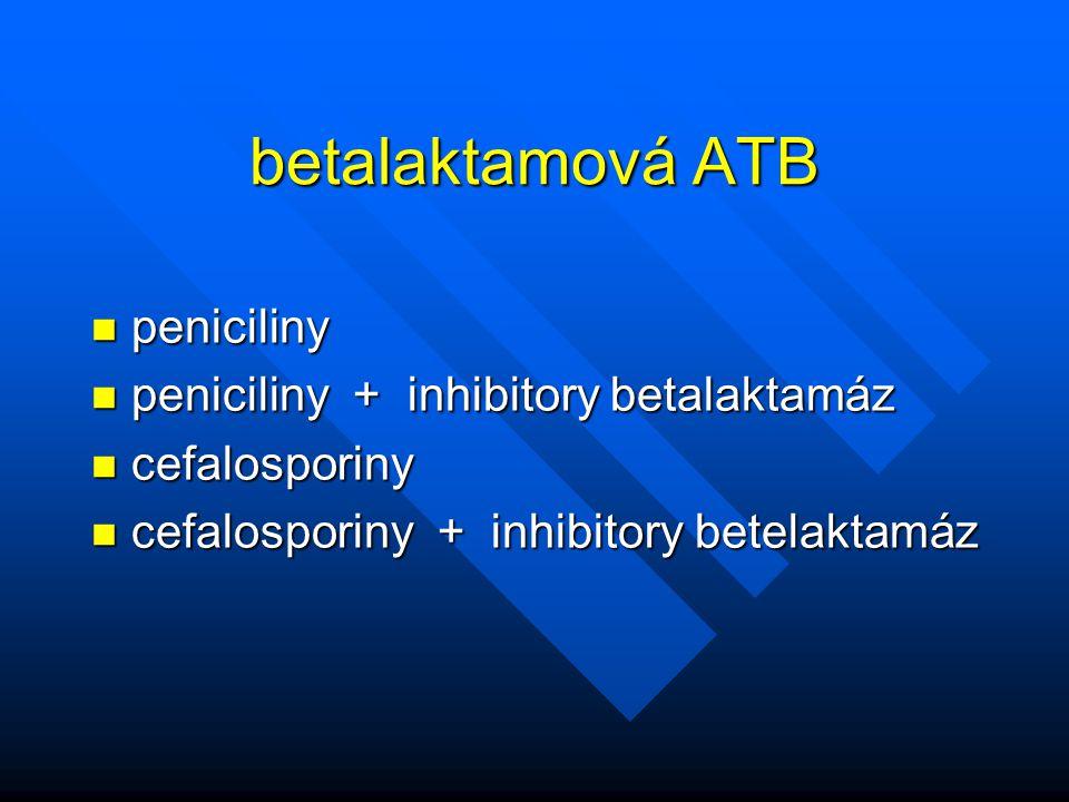 betalaktamová ATB n peniciliny n peniciliny + inhibitory betalaktamáz n cefalosporiny n cefalosporiny + inhibitory betelaktamáz