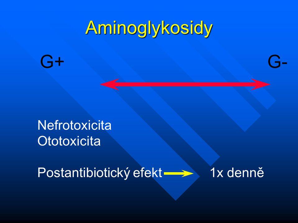 Aminoglykosidy G+ G- Nefrotoxicita Ototoxicita Postantibiotický efekt 1x denně