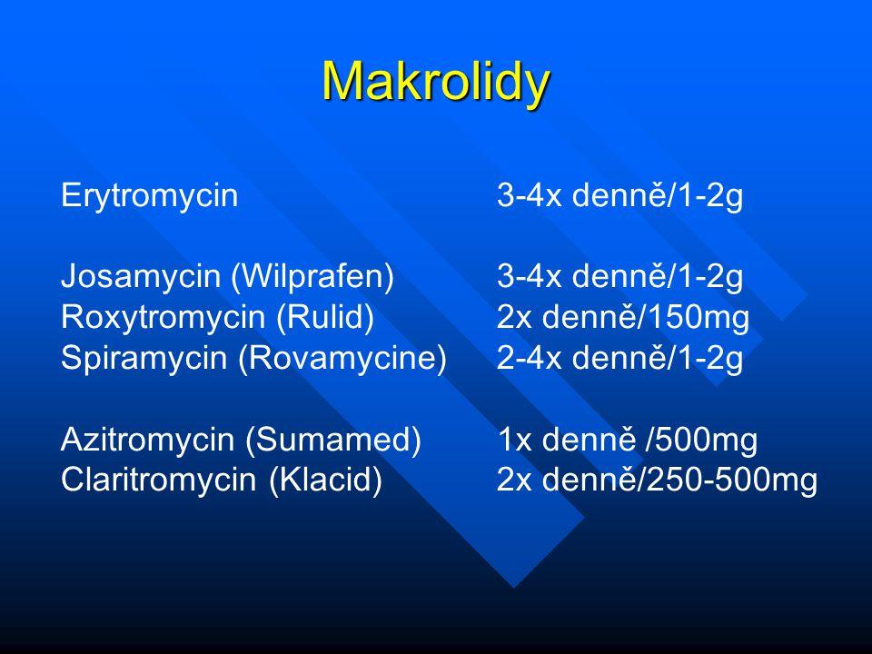 Makrolidy Erytromycin 3-4x denně/1-2g Josamycin (Wilprafen) 3-4x denně/1-2g Roxytromycin (Rulid) 2x denně/150mg Spiramycin (Rovamycine) 2-4x denně/1-2