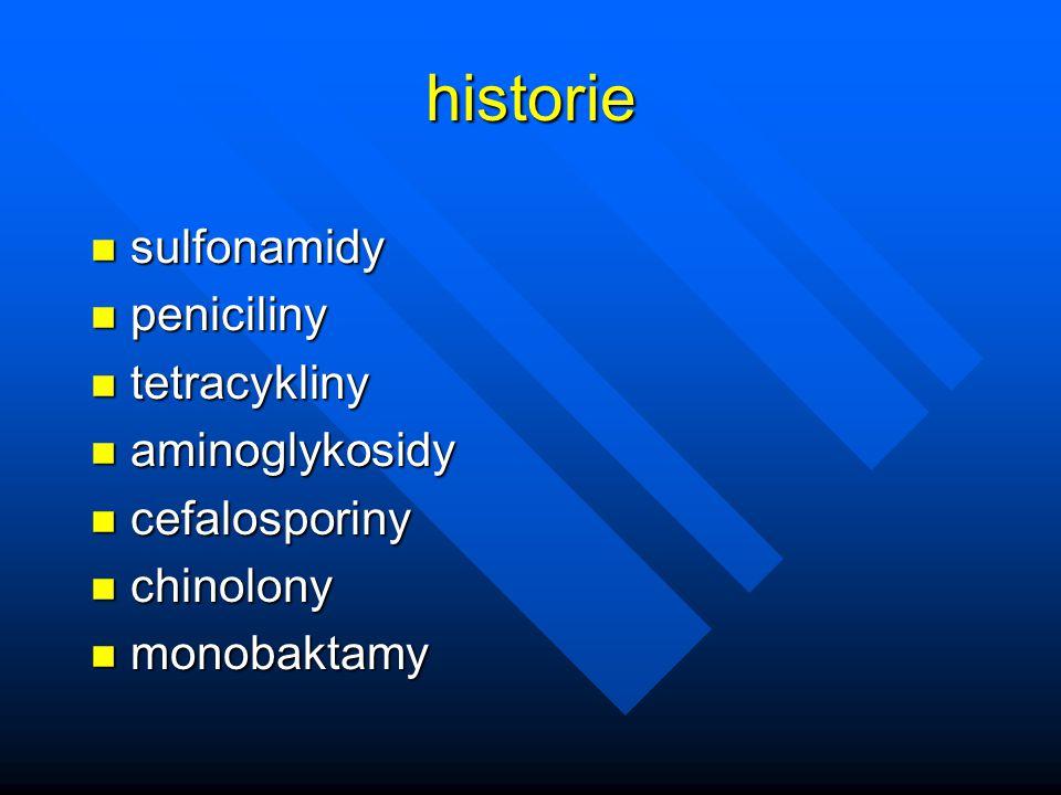 historie n sulfonamidy n peniciliny n tetracykliny n aminoglykosidy n cefalosporiny n chinolony n monobaktamy