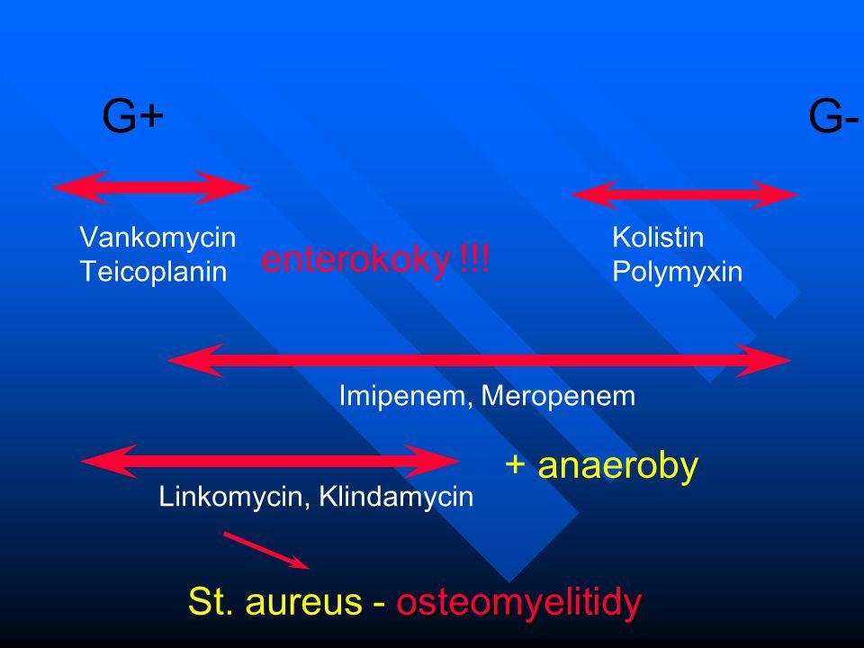 G+ G- Vankomycin Teicoplanin Kolistin Polymyxin Imipenem, Meropenem Linkomycin, Klindamycin + anaeroby osteomyelitidy St. aureus - osteomyelitidy ente