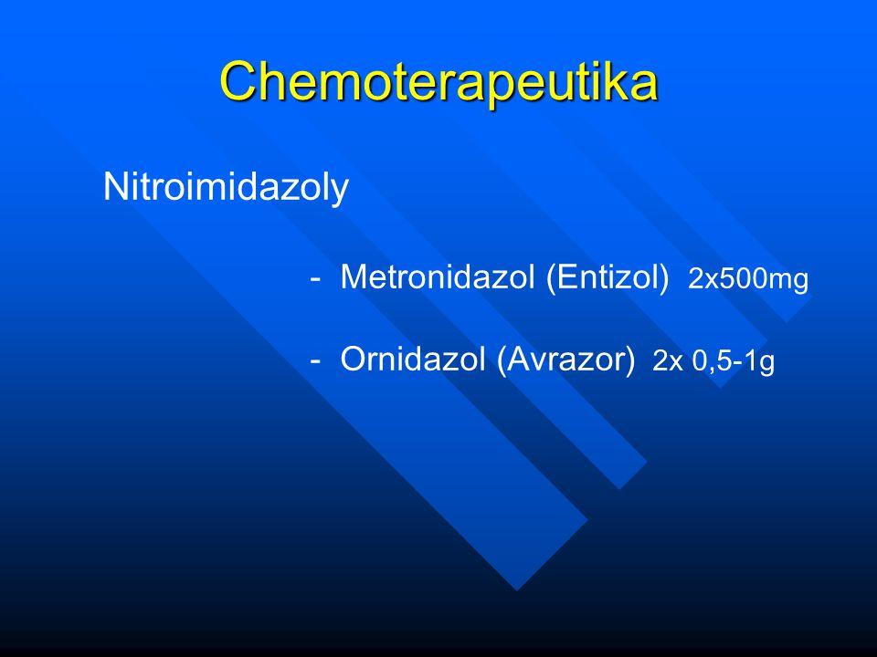 Chemoterapeutika Nitroimidazoly - Metronidazol (Entizol) 2x500mg - Ornidazol (Avrazor) 2x 0,5-1g