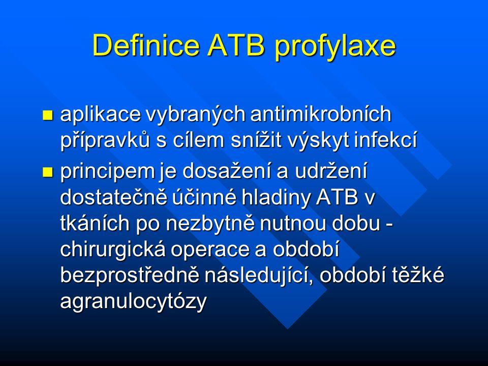 Definice ATB profylaxe n aplikace vybraných antimikrobních přípravků s cílem snížit výskyt infekcí n principem je dosažení a udržení dostatečně účinné