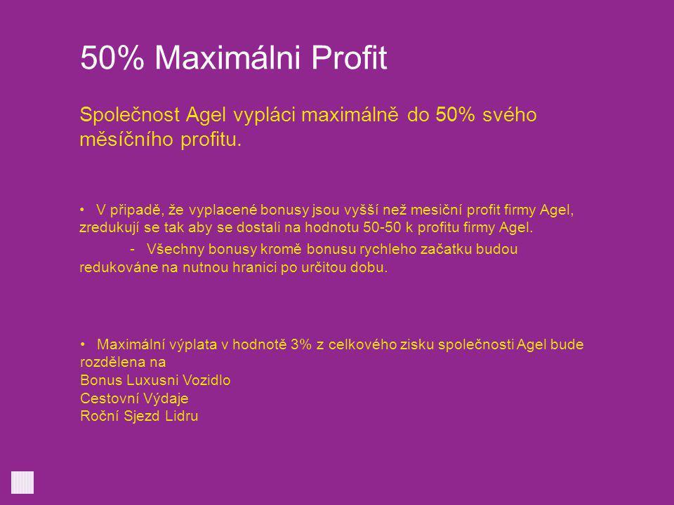 50% Maximálni Profit Společnost Agel vypláci maximálně do 50% svého měsíčního profitu.
