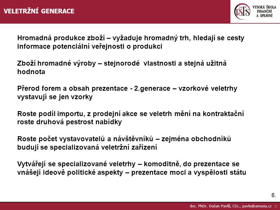 6.6. doc. PhDr. Dušan Pavlů, CSc., pavlu@amasia.cz :: VELETRŽNÍ GENERACE Hromadná produkce zboží – vyžaduje hromadný trh, hledají se cesty informace p