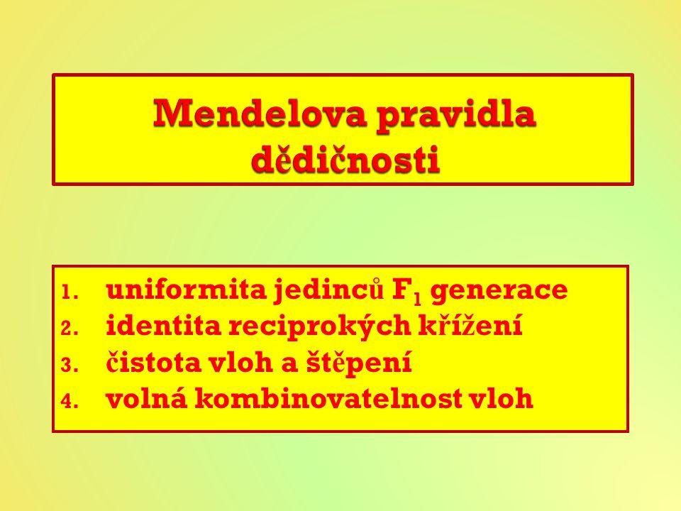 1.uniformita jedinc ů F 1 generace 2. identita reciprokých k ř í ž ení 3.