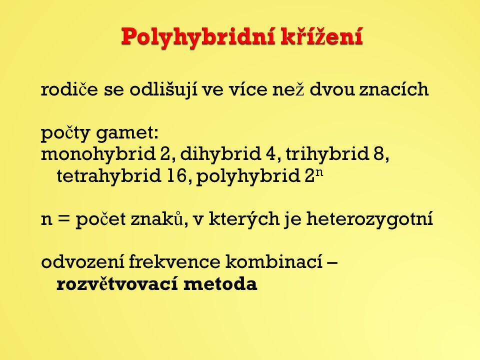 rodi č e se odlišují ve více ne ž dvou znacích po č ty gamet: monohybrid 2, dihybrid 4, trihybrid 8, tetrahybrid 16, polyhybrid 2 n n = po č et znak ů, v kterých je heterozygotní odvození frekvence kombinací – rozv ě tvovací metoda