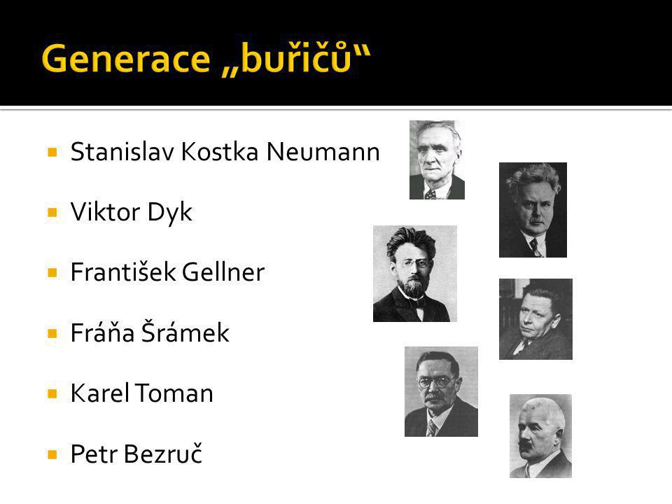  Stanislav Kostka Neumann  Viktor Dyk  František Gellner  Fráňa Šrámek  Karel Toman  Petr Bezruč
