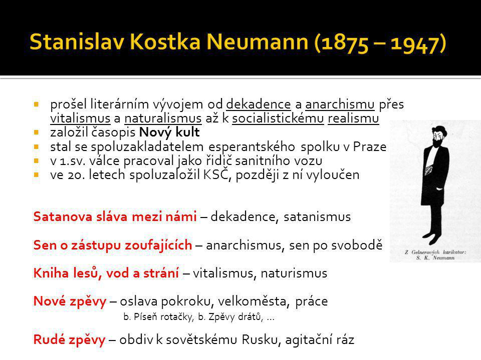  prošel literárním vývojem od dekadence a anarchismu přes vitalismus a naturalismus až k socialistickému realismu  založil časopis Nový kult  stal