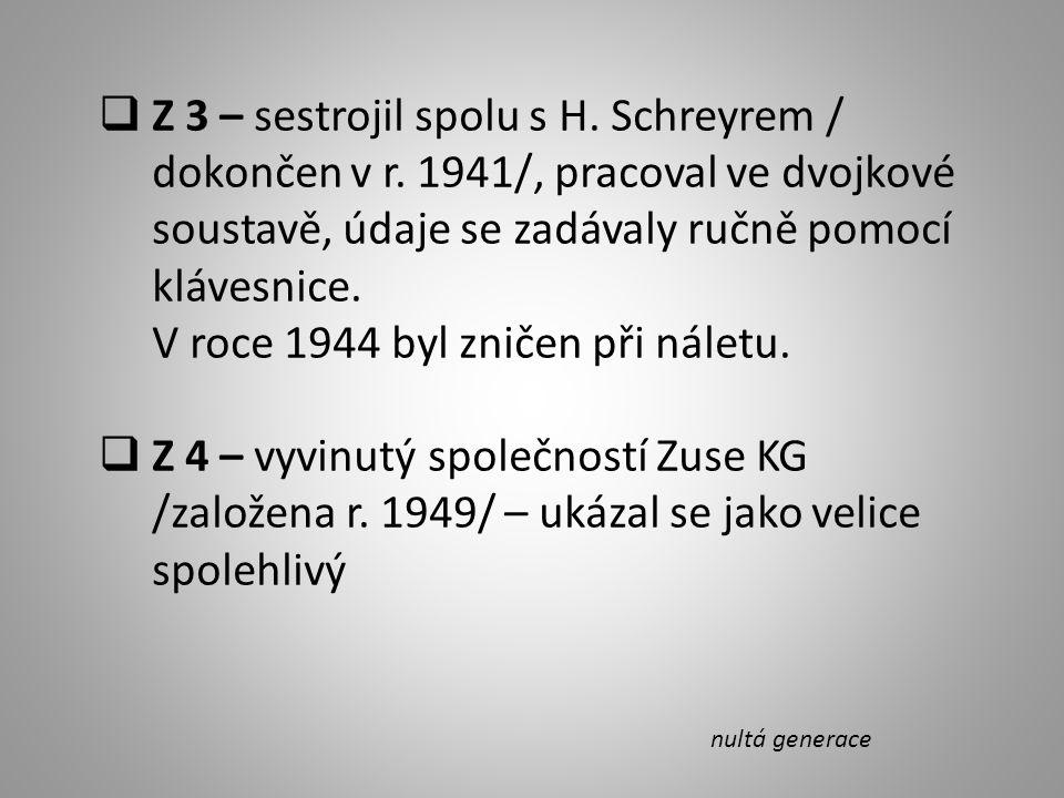 Z 3 – sestrojil spolu s H.Schreyrem / dokončen v r.