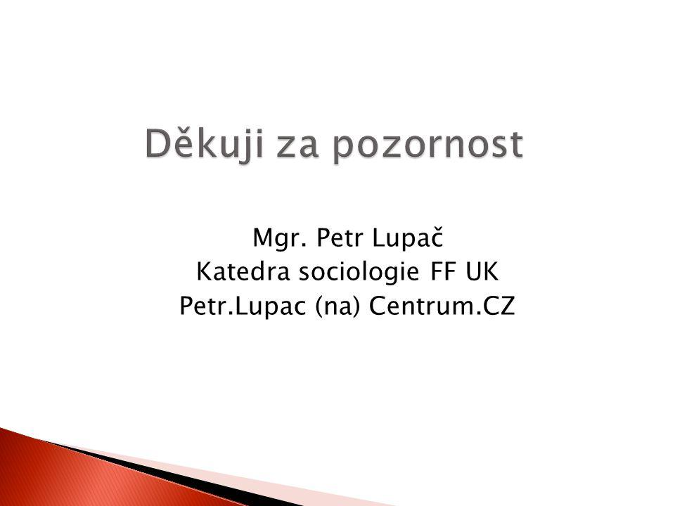 Mgr. Petr Lupač Katedra sociologie FF UK Petr.Lupac (na) Centrum.CZ