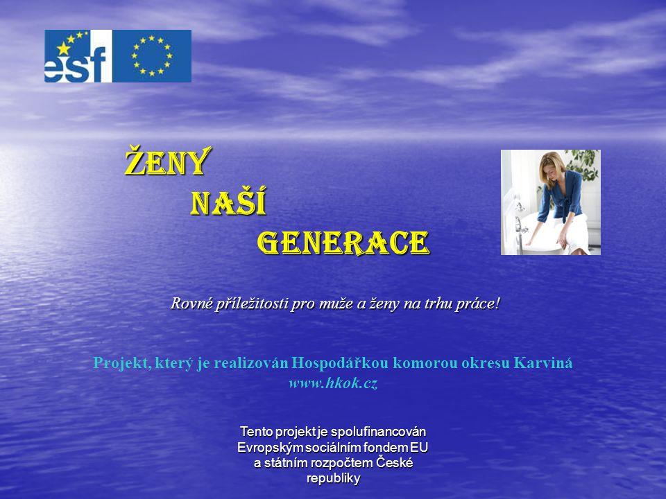 Tento projekt je spolufinancován Evropským sociálním fondem EU a státním rozpočtem České republiky REALIZACE Doba realizace projektu: Doba realizace projektu: 1.