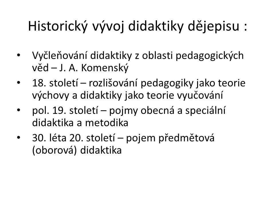Historický vývoj didaktiky dějepisu : Vyčleňování didaktiky z oblasti pedagogických věd – J. A. Komenský 18. století – rozlišování pedagogiky jako teo