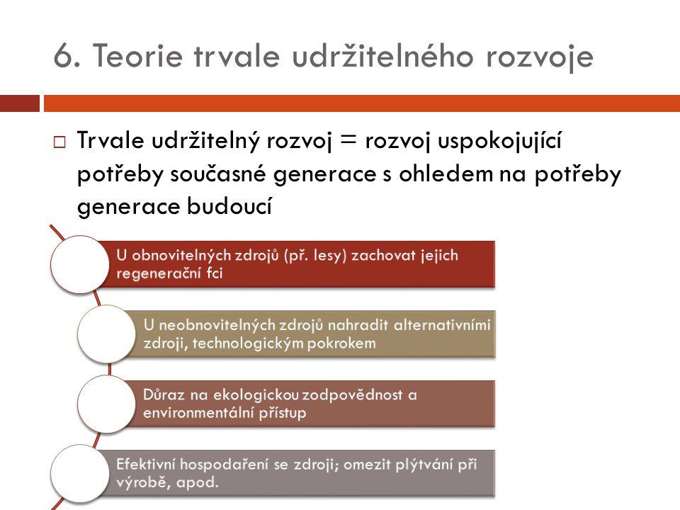 6. Teorie trvale udržitelného rozvoje  Trvale udržitelný rozvoj = rozvoj uspokojující potřeby současné generace s ohledem na potřeby generace budoucí