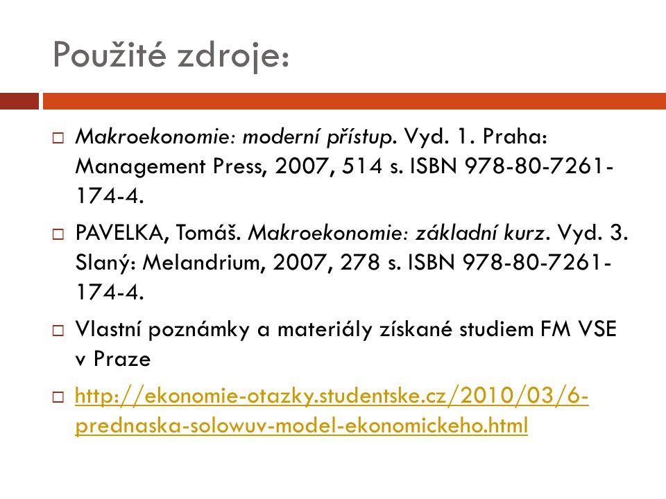 Použité zdroje:  Makroekonomie: moderní přístup. Vyd. 1. Praha: Management Press, 2007, 514 s. ISBN 978-80-7261- 174-4.  PAVELKA, Tomáš. Makroekonom