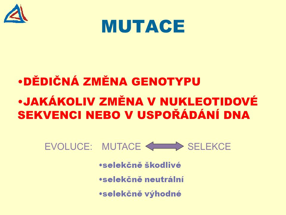 MUTACE DĚDIČNÁ ZMĚNA GENOTYPU JAKÁKOLIV ZMĚNA V NUKLEOTIDOVÉ SEKVENCI NEBO V USPOŘÁDÁNÍ DNA selekčně škodlivé selekčně neutrální selekčně výhodné EVOL