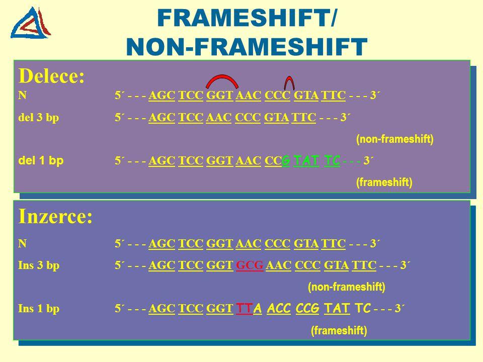 FRAMESHIFT/ NON-FRAMESHIFT Delece: N5´ - - - AGC TCC GGT AAC CCC GTA TTC - - - 3´ del 3 bp5´ - - - AGC TCC AAC CCC GTA TTC - - - 3´ (non-frameshift) d