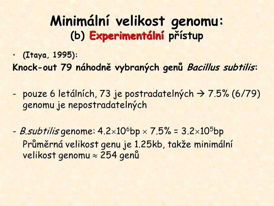 (Itaya, 1995): Knock-out 79 náhodně vybraných genů Bacillus subtilis: -pouze 6 letálních, 73 je postradatelných  7.5% (6/79) genomu je nepostradateln