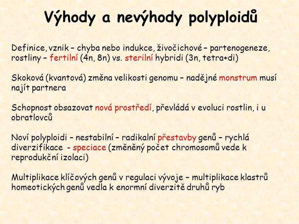Výhody a nevýhody polyploidů Definice, vznik – chyba nebo indukce, živočichové – partenogeneze, rostliny – fertilní (4n, 8n) vs. sterilní hybridi (3n,