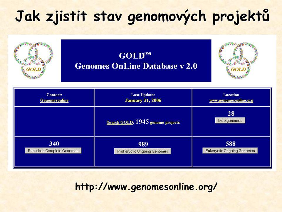 http://www.genomesonline.org/ Jak zjistit stav genomových projektů