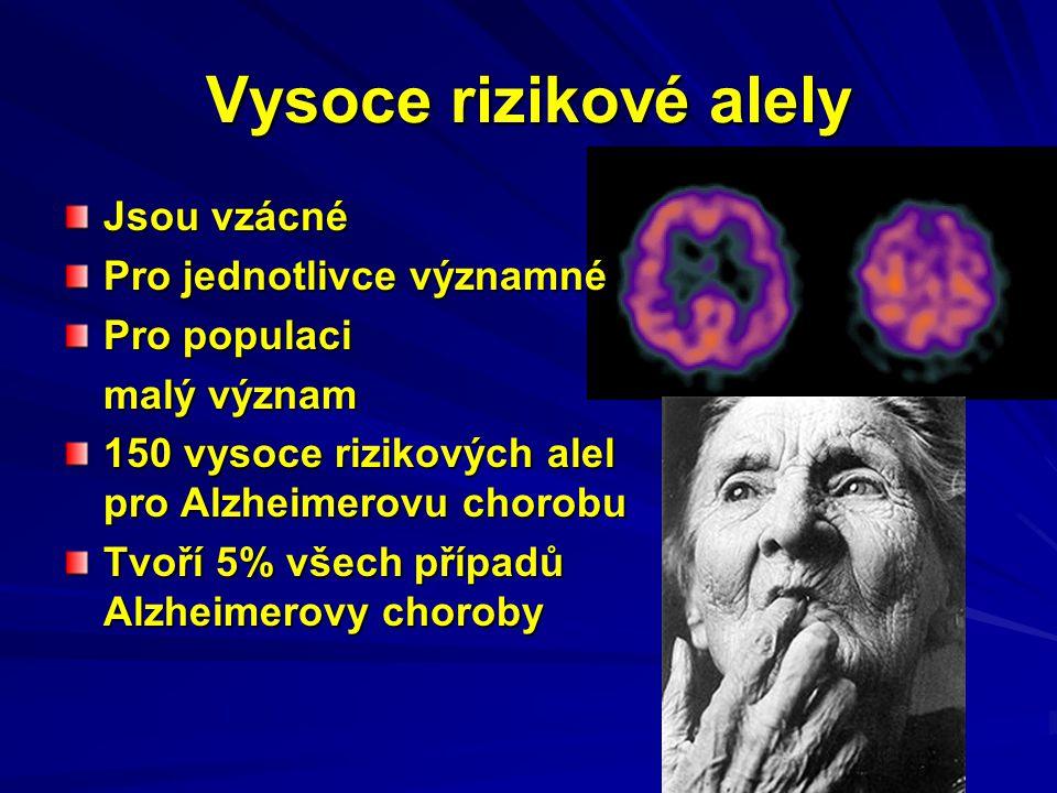 Vysoce rizikové alely Jsou vzácné Pro jednotlivce významné Pro populaci malý význam 150 vysoce rizikových alel pro Alzheimerovu chorobu Tvoří 5% všech