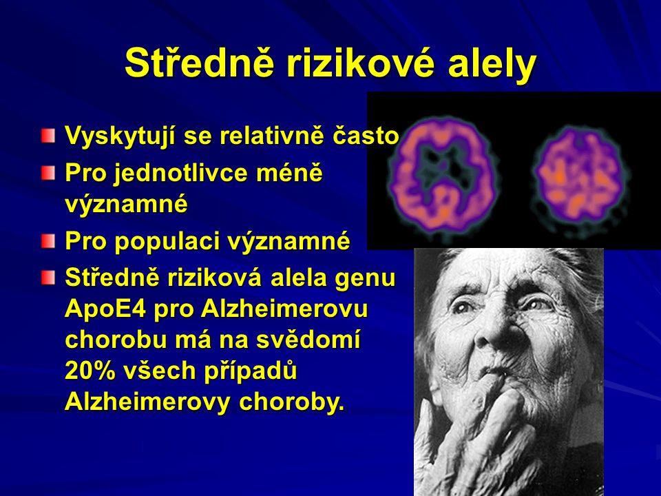 Středně rizikové alely Vyskytují se relativně často Pro jednotlivce méně významné Pro populaci významné Středně riziková alela genu ApoE4 pro Alzheime
