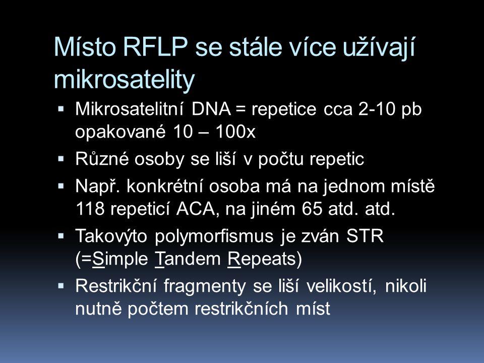 Místo RFLP se stále více užívají mikrosatelity  Mikrosatelitní DNA = repetice cca 2-10 pb opakované 10 – 100x  Různé osoby se liší v počtu repetic 