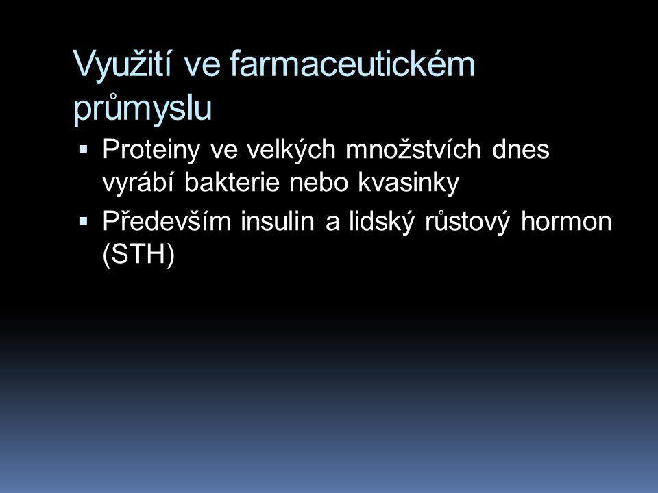 Využití ve farmaceutickém průmyslu  Proteiny ve velkých množstvích dnes vyrábí bakterie nebo kvasinky  Především insulin a lidský růstový hormon (ST