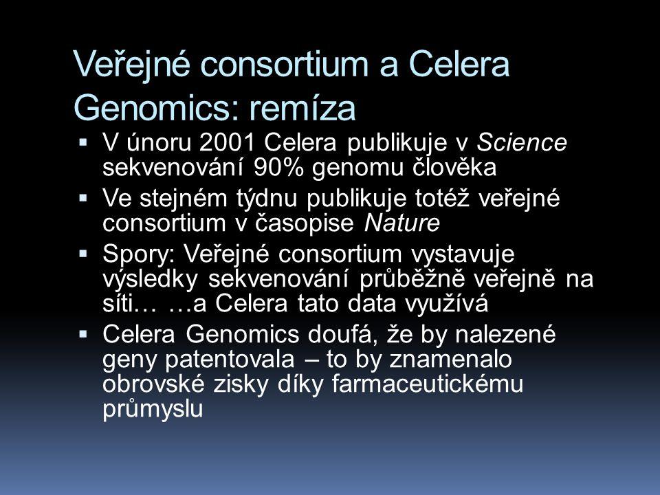 Veřejné consortium a Celera Genomics: remíza  V únoru 2001 Celera publikuje v Science sekvenování 90% genomu člověka  Ve stejném týdnu publikuje tot