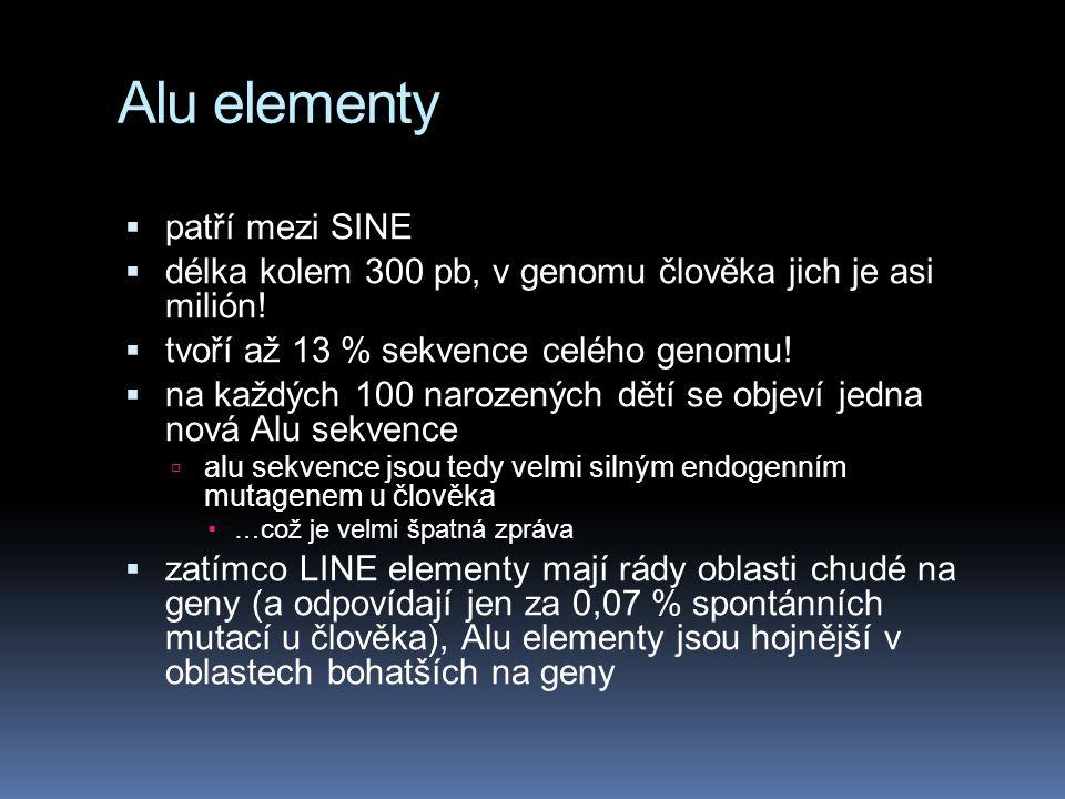 Alu elementy  patří mezi SINE  délka kolem 300 pb, v genomu člověka jich je asi milión!  tvoří až 13 % sekvence celého genomu!  na každých 100 nar