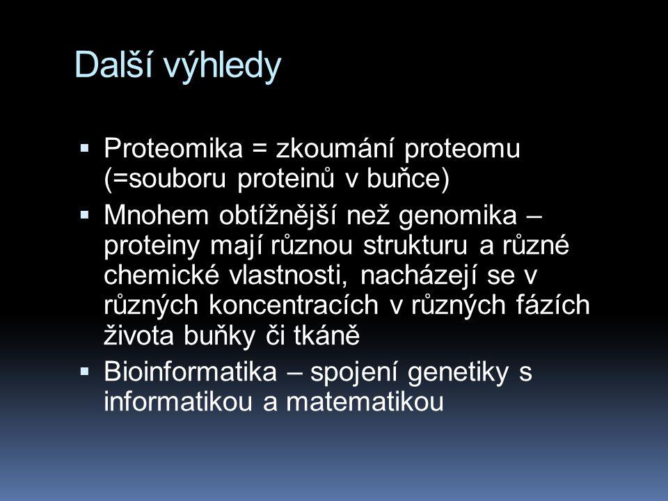 Další výhledy  Proteomika = zkoumání proteomu (=souboru proteinů v buňce)  Mnohem obtížnější než genomika – proteiny mají různou strukturu a různé c