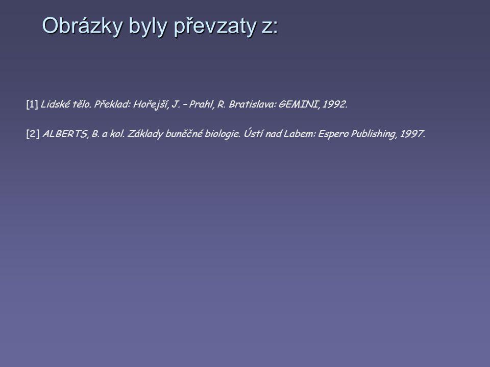Obrázky byly převzaty z: [1] Lidské tělo. Překlad: Hořejší, J. – Prahl, R. Bratislava: GEMINI, 1992. [2] ALBERTS, B. a kol. Základy buněčné biologie.