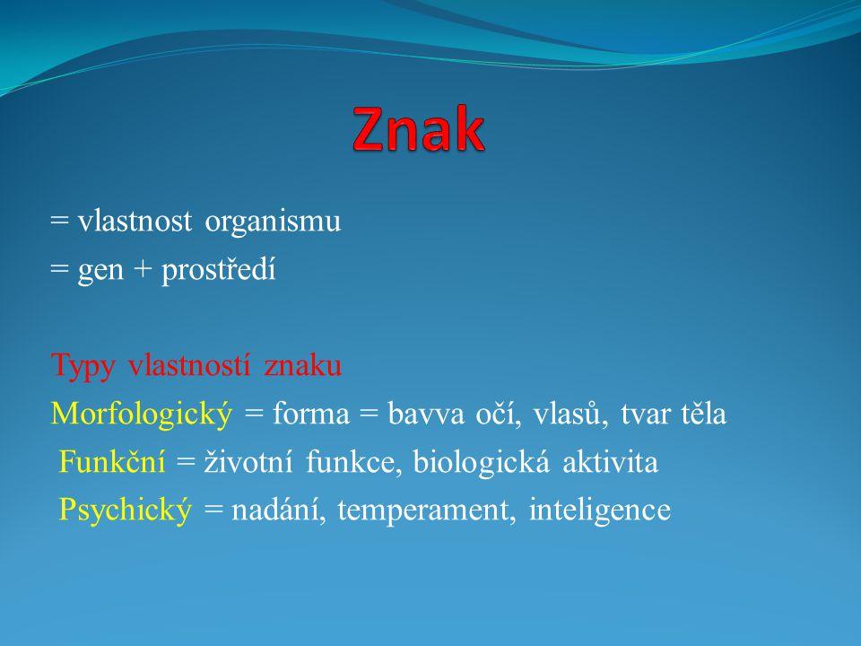 = vlastnost organismu = gen + prostředí Typy vlastností znaku Morfologický = forma = bavva očí, vlasů, tvar těla Funkční = životní funkce, biologická