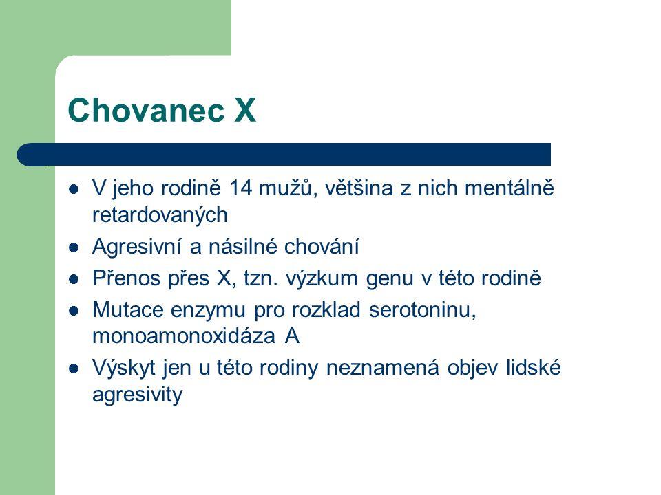 Chovanec X V jeho rodině 14 mužů, většina z nich mentálně retardovaných Agresivní a násilné chování Přenos přes X, tzn. výzkum genu v této rodině Muta