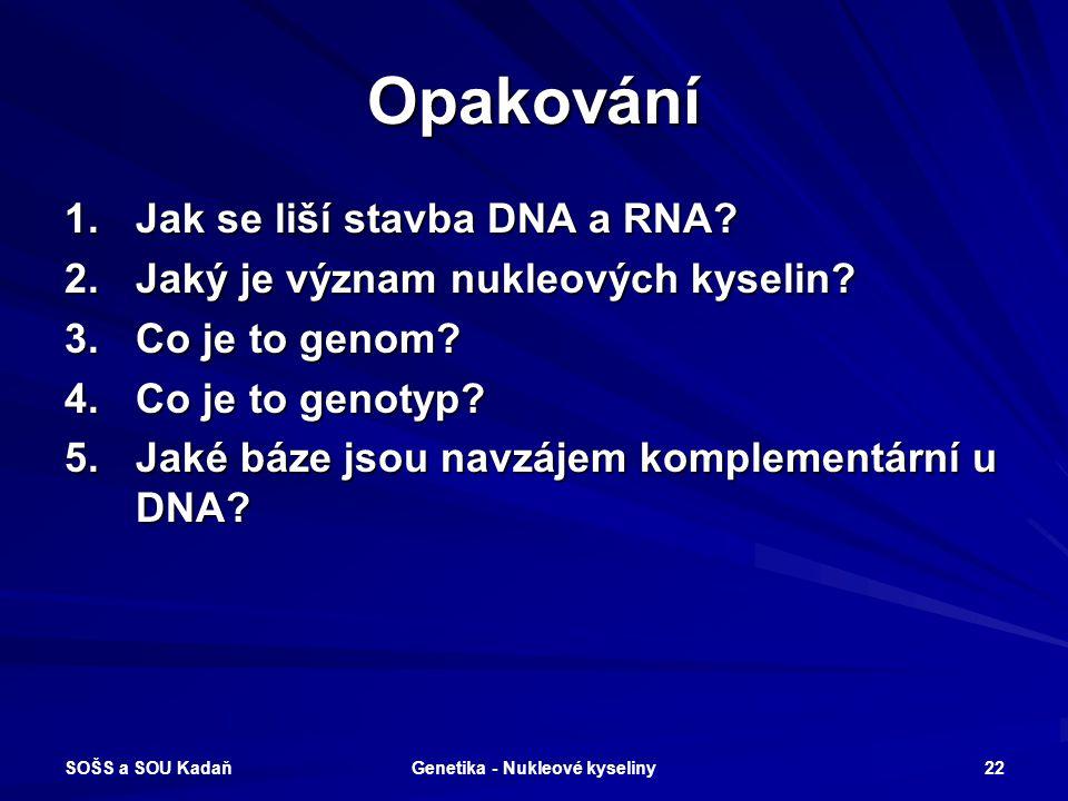 SOŠS a SOU Kadaň Genetika - Nukleové kyseliny 21 Vyhodnocení 1.b 2.d 3.a 4.c