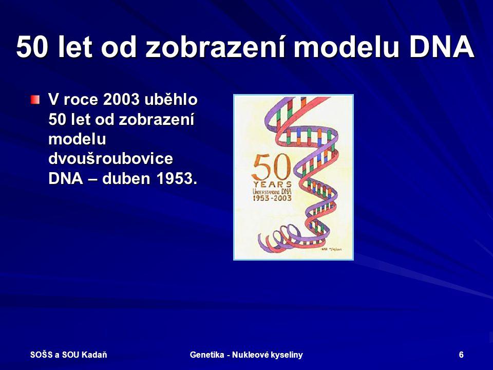 SOŠS a SOU Kadaň Genetika - Nukleové kyseliny 5 Základní pojmy DNA – deoxyribonukleová kyselina RNA – ribonukleová kyselina GENOM – jaderná dědičnost