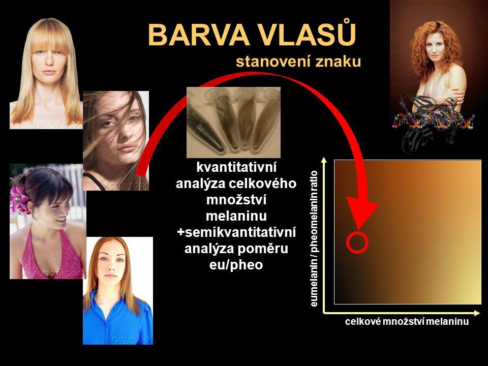 BARVA VLASŮ kůže eumelanin / pheomelanin ratio celkové množství melaninu stanovení znaku kvantitativní analýza celkového množství melaninu +semikvanti