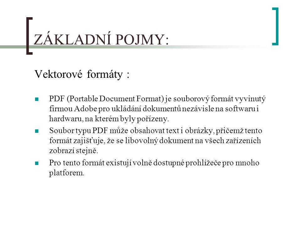ZÁKLADNÍ POJMY: Vektorové formáty : PDF (Portable Document Format) je souborový formát vyvinutý firmou Adobe pro ukládání dokumentů nezávisle na softwaru i hardwaru, na kterém byly pořízeny.