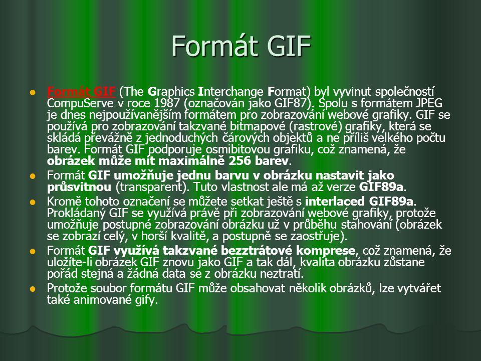 Formát GIF Formát GIF (The Graphics Interchange Format) byl vyvinut společností CompuServe v roce 1987 (označován jako GIF87). Spolu s formátem JPEG j