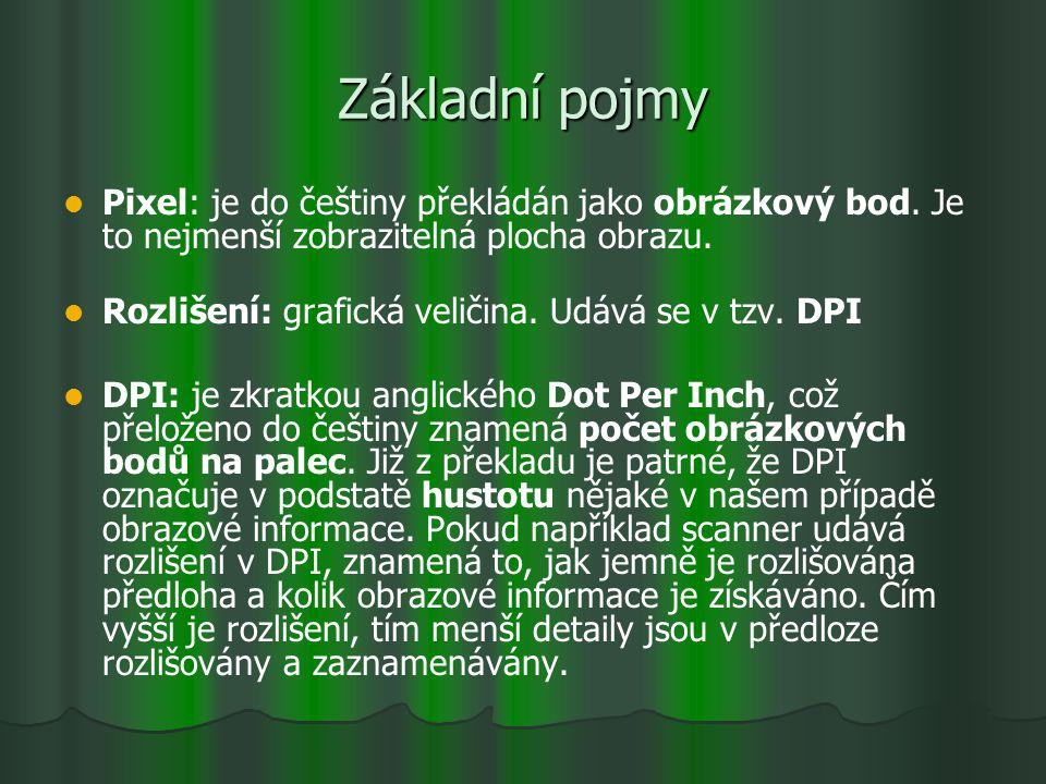 Základní pojmy Pixel: je do češtiny překládán jako obrázkový bod. Je to nejmenší zobrazitelná plocha obrazu. Rozlišení: grafická veličina. Udává se v