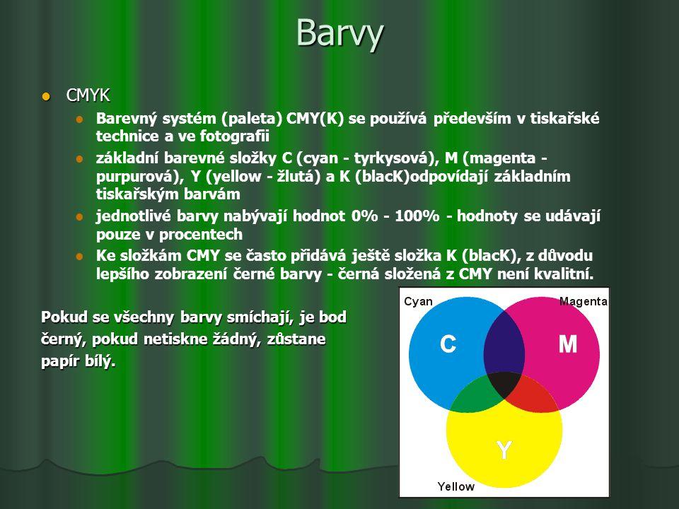 Barvy CMYK CMYK Barevný systém (paleta) CMY(K) se používá především v tiskařské technice a ve fotografii základní barevné složky C (cyan - tyrkysová),