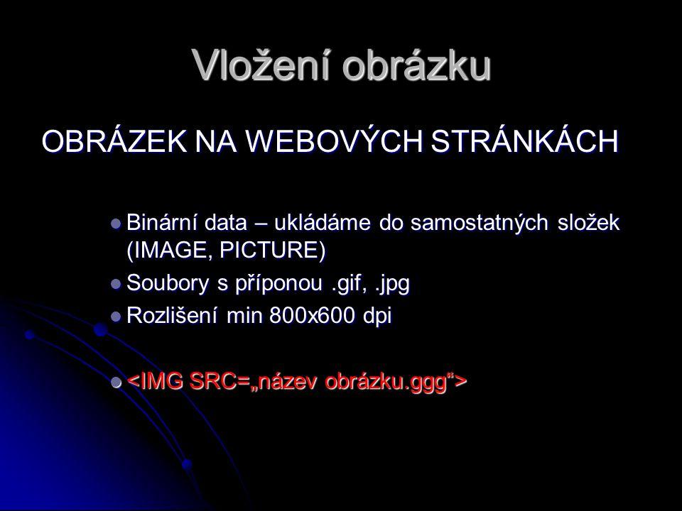 Vložení obrázku OBRÁZEK NA WEBOVÝCH STRÁNKÁCH Binární data – ukládáme do samostatných složek (IMAGE, PICTURE) Binární data – ukládáme do samostatných složek (IMAGE, PICTURE) Soubory s příponou.gif,.jpg Soubory s příponou.gif,.jpg Rozlišení min 800x600 dpi Rozlišení min 800x600 dpi